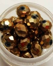 Faceted Glass beads 8mm x 6mm. Bronze x 10